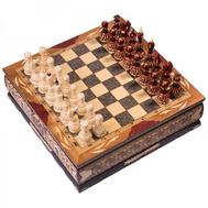 Шахматы резные ручной работы в ларце большие, фото 1
